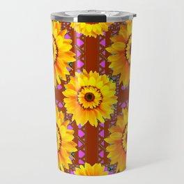 CINNAMON COLOR YELLOW SUNFLOWERS ART Travel Mug