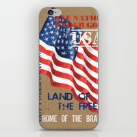 patriotic iPhone & iPod Skins featuring Patriotic Text by Debbie DeWitt