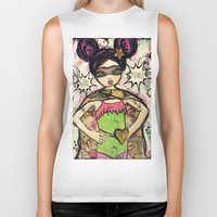 girl power Biker Tanks featuring Girl Power by Lisa Ferrante