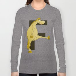 Pony Monogram Letter F Long Sleeve T-shirt
