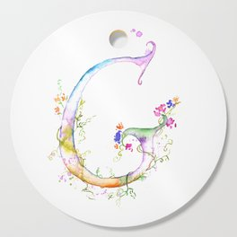 Letter G watercolor - Watercolor Monogram - Watercolor typography - Floral lettering Cutting Board