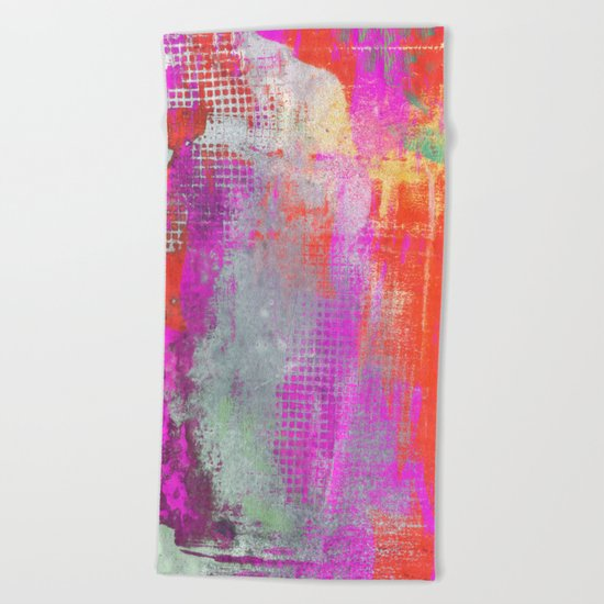 colorful abstract artwork original painting Beach Towel