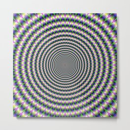 Brain-Buster in Blue Green and Violet Metal Print