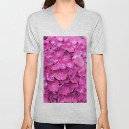 Artful Pink Hydrangeas Floral Design Unisex V-Neck