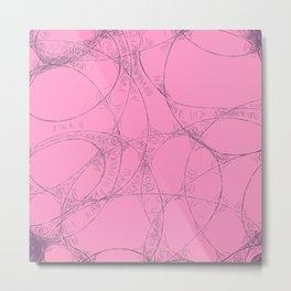 Creamy Strawberry pink yoghurt doodel design Metal Print