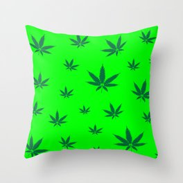 Cannabis Leaves Background Throw Pillow