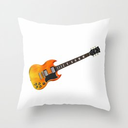 Guitar With Fire Graphics Throw Pillow