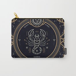 Scorpio Zodiac Golden White on Black Background Carry-All Pouch