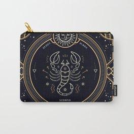 Scorpio Zodiac Golden White on Black Background Carry-All Pouch