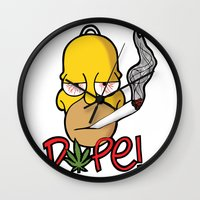 simpson Wall Clocks featuring Dope Homer Simpson by DeMoose_Art