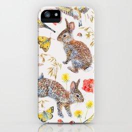 Bunny Meadow Pattern iPhone Case