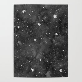 Watercolor galaxy - black and white Poster