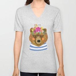 BEAR WITH FLOWERS Unisex V-Neck