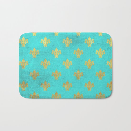 Queenlike on aqua I  Gold Heraldry elements on turquoise background Bath Mat
