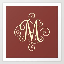 M Monogram - Red Art Print