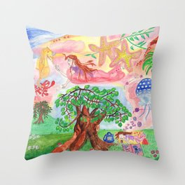 Medilludesign - Lucid dreams - flying in the sea Throw Pillow