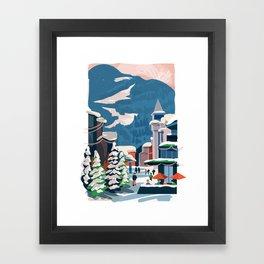 Whistler village in the snow Framed Art Print