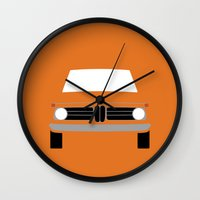 bmw Wall Clocks featuring BMW 2002 by Nick Steen