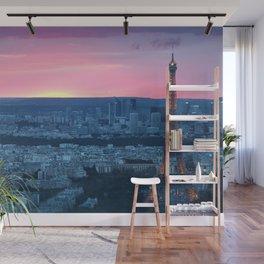 Paris City Sunset Wall Mural
