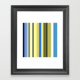 Blue and Moss Stripes Framed Art Print