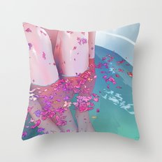 Flower Bath 4 Throw Pillow