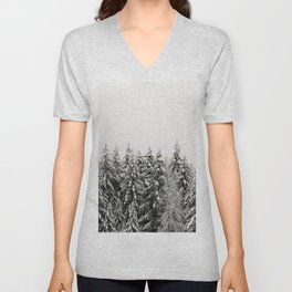 Winter Trees IV - Snow Capped Forest Adventure Nature Photography Unisex V-Neck