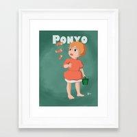 ponyo Framed Art Prints featuring Ponyo by Hannahviera