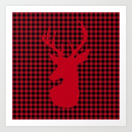 Red Plaid Deer Stag Design Art Print