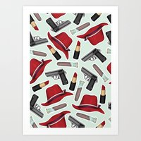 peggy carter Art Prints featuring Peggy Carter Pattern by HayPaige