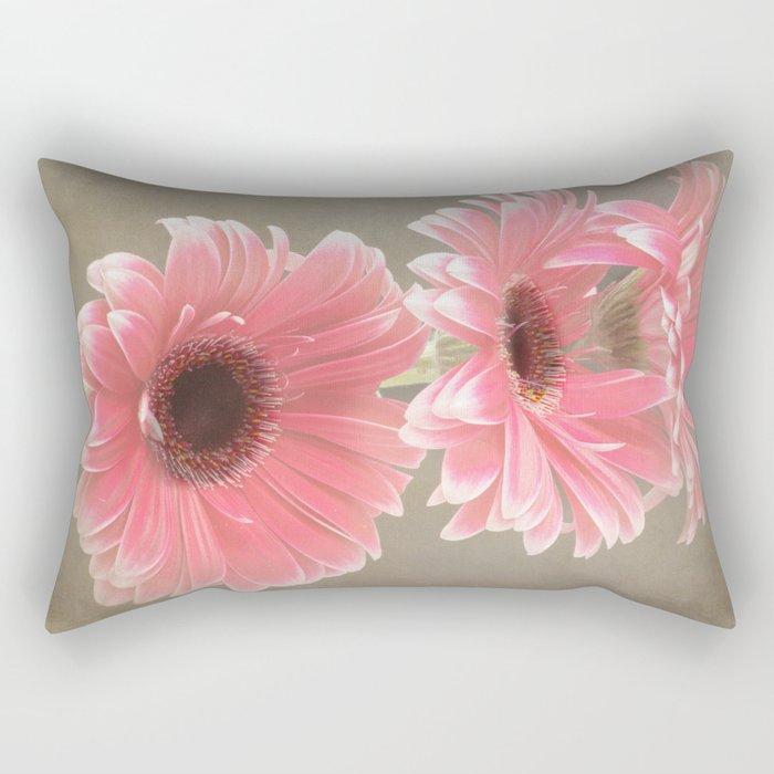 Three Pink Gerberas Rectangular Pillow