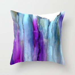 Secret Veil -  modern alcohol ink painting, Abstract watercolor wash, abstract Wall Art,pink purple blue gray Throw Pillow