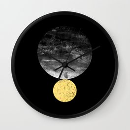 Orson - minimal black and gold modern marble abstract painting dark skywatching galaxy planets space Wall Clock
