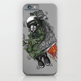Military Fighter Jet Pilot Ejection Seat Cartoon Illustration iPhone Case