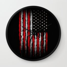 Red & white Grunge American flag Wall Clock