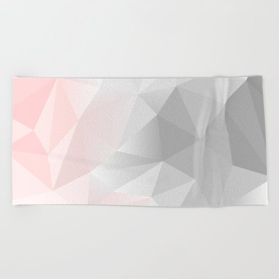 pink and grey geometric low poly background Beach Towel