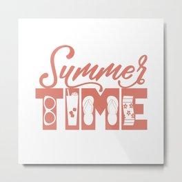 Summer TIME at the Pool Salmon Metal Print