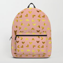 gold heart pattern pink Backpack