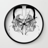study Wall Clocks featuring 'Face Study I' by Alex G Griffiths