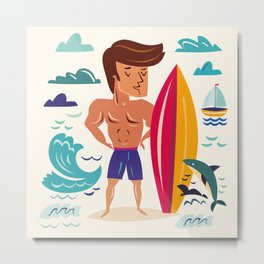 Summer Surfin' Metal Print