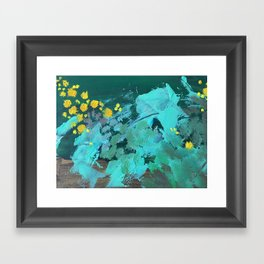golden wattle oil painting Framed Art Print