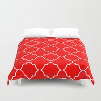 moroccan Duvet Covers featuring Moroccan Red by Jenna Mhairi