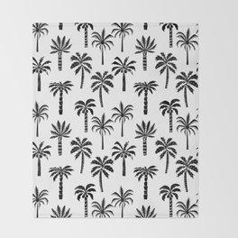 Palm Tree linocut pattern minimal tropical black and white minimalist Throw Blanket
