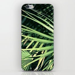 Majestic Layers of Intersecting Palm Leaves in Shadow iPhone Skin