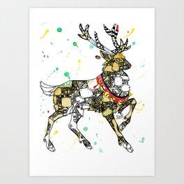 Steampunk Robot Reindeer Art Print