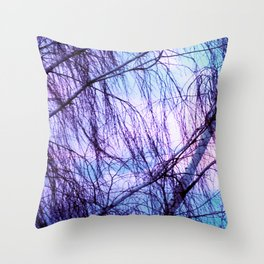 Black Trees Periwinkle Lavender Sky Throw Pillow