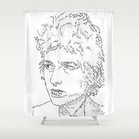 bob dylan Shower Curtains featuring Bob Dylan WordsPortrait  by WordsLines