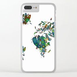 world map feathers mandala 2 Clear iPhone Case