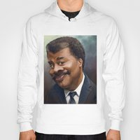 neil gaiman Hoodies featuring Neil Degrasse Tyson Caricature by Jared Hobson