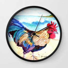 Rooster at the Beach Wall Clock