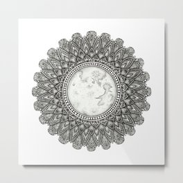 Black and White Moon Mandala Metal Print